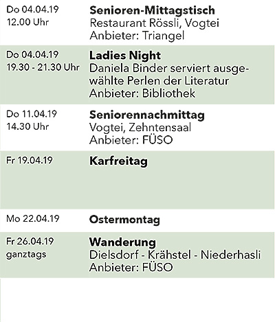 Seniorenkalender April 2019 rechts