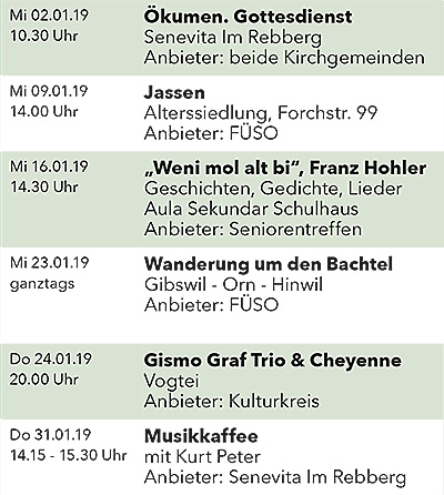 Seniorenkalender Januar 2019 links