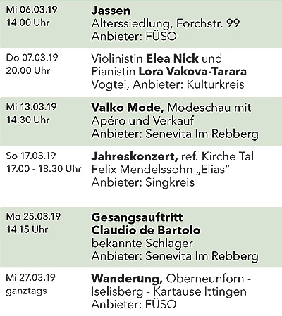 Seniorenkalender März 2019 links